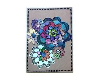 Handmade Blank Card - Paper Flower Garden series 1 - 5x7 (PFGL-0041)