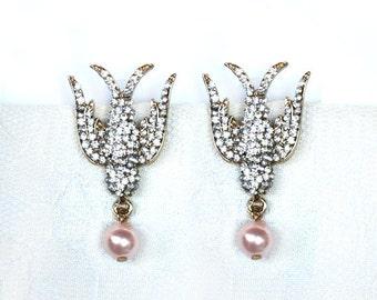 Art Nouveau Rhinestone Bird swallow Earrings Pearl drop earrings Dangle Bridesmaid Jewelry Elegant Evening Earrings Chic gold statement