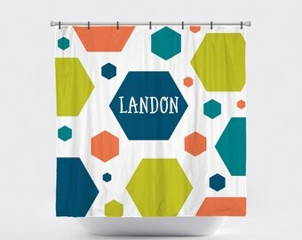 Shower Curtain Personalized Monogrammed Pick Your Colors: Geometry