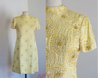 Vintage Designer Gino Charles Mod Mini Dress Yellow Beaded Gold Sequin Made in Hong Kong M