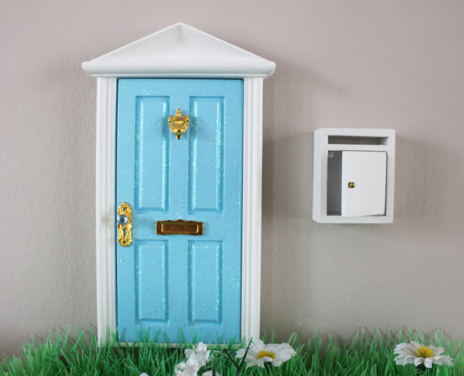 Opening blue magical fairy elf door with white mail box for White fairy door