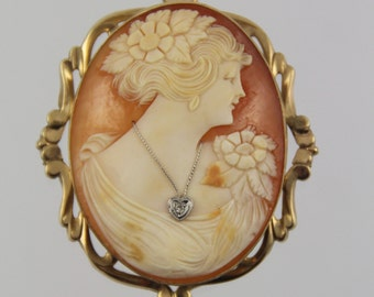 Antique 10 K Gold ESEMCO Carved Shell Cameo Brooch Pendant Habille Heart Diamond