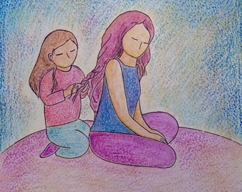 Motherhood image.Mother and daughter moments.Violet painting.Gioia Albano art.MOTHERHOOD image.Little painting.Sketch Friday.Mother's day