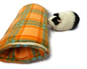 Orange guinea pig bed, guinea pig tunnel, guinea pig hideout, rat, ferret, small pet bed, guinea pig cozy, guinea pig pocket, cuddle cup