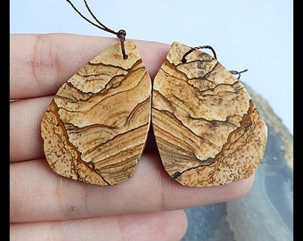 Nugget Picture Jasper Earring Beads,35x25x2mm,7.7g