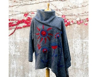Grey asymmetric poncho pullover with cowl