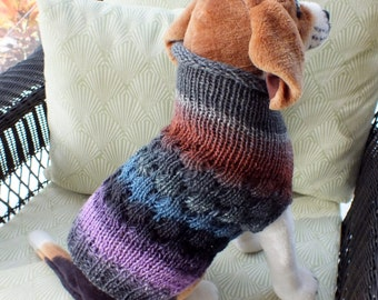 "Dog Coat Hand Knit NORO Beagle Medium 14.5"" inches long Merino Wool"