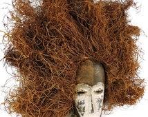 Lega Mask Toothy with Raffia Headdress Congo African Art 101873 SALE WAS 290