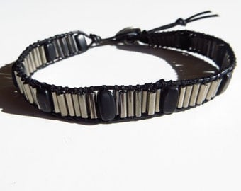 Chromeboma beaded leather wrap bracelet
