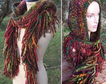 Crochet hooded scarf hat snood fringe boa 'Goddess Hood'- hand dyed handspun wool art yarn - Handmade fiber art to wear Custom made bespoke