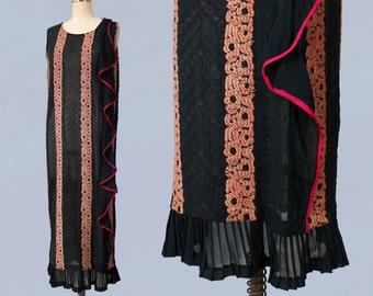 1920s Dress / 20s Striped Flapper Dress /  GOLD BULLION Lamé Embroidery / Magenta Bias Ruffle