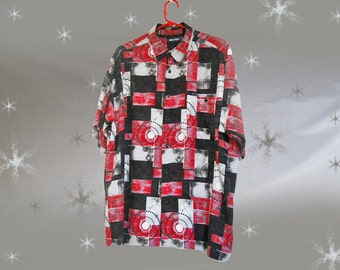 Men's Vintage Rayon Shirt - 80s Short Sleeve Button Down - Red Black Abstract Print