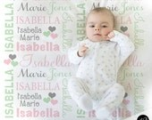 Hearts Name Blanket in pink mint and gray for Baby Girl, personalized baby gift, blanket, baby blanket, personalized blanket, choose colors