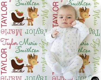 Reindeer Name Blanket, Christmas Baby Blanket, personalized blanket, keepsake blanket, baby blanket, personalized blanket, choose colors