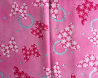 One yard of butterfly printed fabric light pink colour