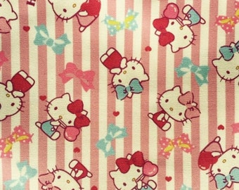 Hello kitty with stripe design fabric One yard pink colour