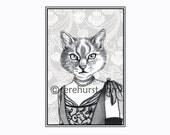 madam violette - cat art - 8.5 x 11 black and white print - portrait illustration