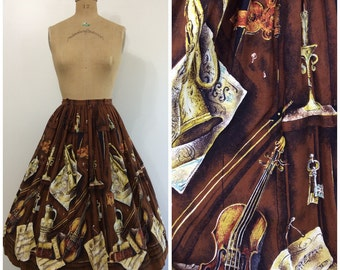 Vintage 1950s Musical Novelty Border Print Skirt 50s Violin