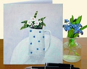 One blank art card, sympathy card, greetings or notecard, from original still life painting