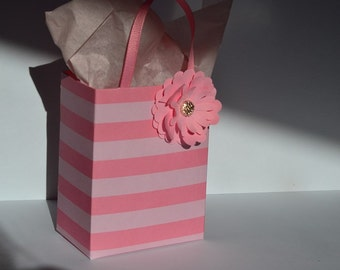 Pink stripe with pink paper flower and gold  bling