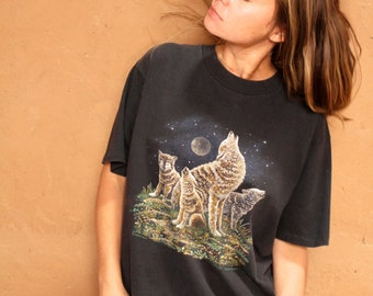 90s DREAMCATCHER wolf slouchy SOUTHWEST t shirt top
