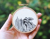 "ON SALE Tropical Jungle Embroidery. Hand Embroidered Plants. Hand Stitched Leaves. 3"" Embroidery Hoop Art. Embroidered Jungle Wall Art."