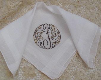 Solid White Madeira Cotton Hankie Monogrammed F