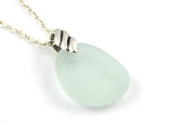 Sea Glass Pendant Necklace LEONE, Sea Glass Pendant, Sea Glass Necklace, Recycled Glass, Blue Seafoam Sea Glass