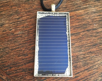 Framed Solar Panel Necklace - Silver Plated
