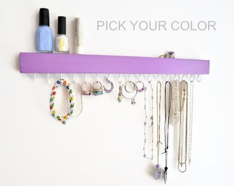 Modern Jewelry Organizer Wall - Jewelry Holder -  Necklace Earring holder - Painted - Minimalist - Wood - Pick your color