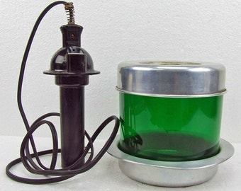 Vintage Art Deco Green Glass Vaporizer With Original Chord Collectible Medical Device