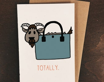 Valentine's Day Card, Love Card, Just Because Card - Totes Magoats - No. 216-C
