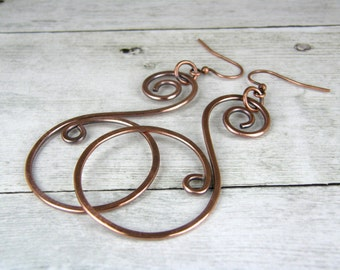 Hammered Copper Wire Earrings, Antiqued Copper Earrings, Copper Wire Earrings Handmade In USA