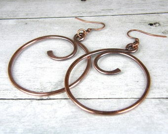 Hammered Copper Wire Earrings, Antiqued Copper Hoop Earrings, Rustic Copper Hoop Earrings