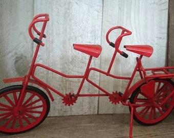 Red Tandem Bike Model. Red Bike Toy. Vintage Miniature Bike. Red Bicycle