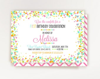 Confetti Birthday Invitation - Confetti Party - Printable Invitation