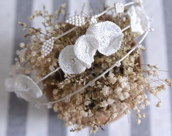 MISS Lotus - bridal flower and leaf swarovski crystal hair vine, Ivory wedding crown