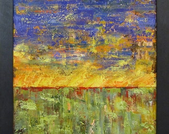 """Abstract Landscape Painting...23.25"""" x 23.25""""... Framed Art"""