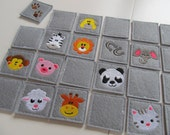 """Memory game """"Animals"""" - machine embroidery applique design - download for 4x4, 5x7 and 6x10"""