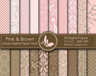50% Off Pink & Brown Mega Paper Pack - 20 Printable Digital papers - 12 x12 - 300 DPI