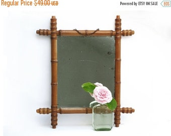 Antique Medium French  Wooden Faux Bamboo Mirror Chain , 1920 ,  for brown nuts neutral decor