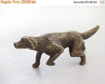 French antique brass tone solid bronze dog hunting, small dog sculpture , hunt antique bronze figurine