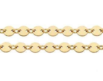 14Kt Gold Filled 4mm Plain Flat Sequin Disc chain - 5ft Made in USA 20% discounted LOWEST PRICE wholesale quantity High Quality (5318-5)/1