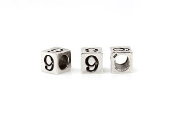 "Number Beads Sterling Silver 4mm Number Block ""9""  - 1pc 3mm Inside Diameter (4036)/1"