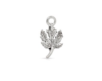 Maple Leaf Charm Pendant 925 Sterling Silver 13.8mm - 1Pc High Quality Wholesale price (4106)/1