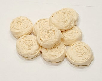 Ivory paper flower roses - Set of 20 - Custom Colors Available