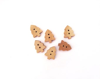 6 Tree Buttons, Wood, Wooden, Kids Buttons, Natural