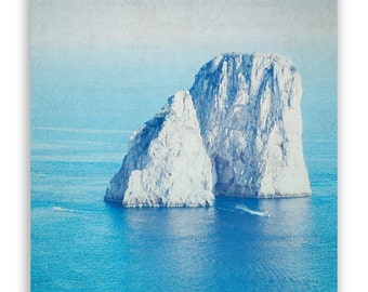 Sale - Landscape Photography, teal home decor, Amalfi Coast, wall art aqua decor, seaside photography - 6x6 Fine Art Photograph