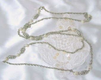 "Vintage Necklace Sarah Coventry 1973 Filigree Lady Silver Tone Flapper Length 51"" Chain White Faux Pearls"