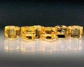 20 pcs 3mm Faceted Gold Champagne Cube Beads